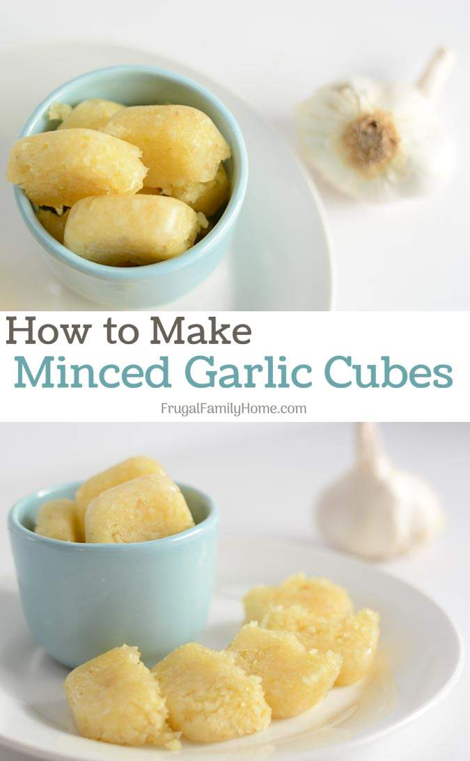 Make your own minced garlic cubes for the freezer. You won't have to peel and chop one clove or garlic for a recipe, you'll have it ready and waiting in the freezer.