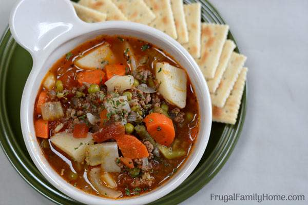 An easy and hearty hamburger soup that's easy to make and frugal too.