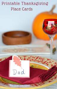Printable Leaf Place Cards for Thanksgiving