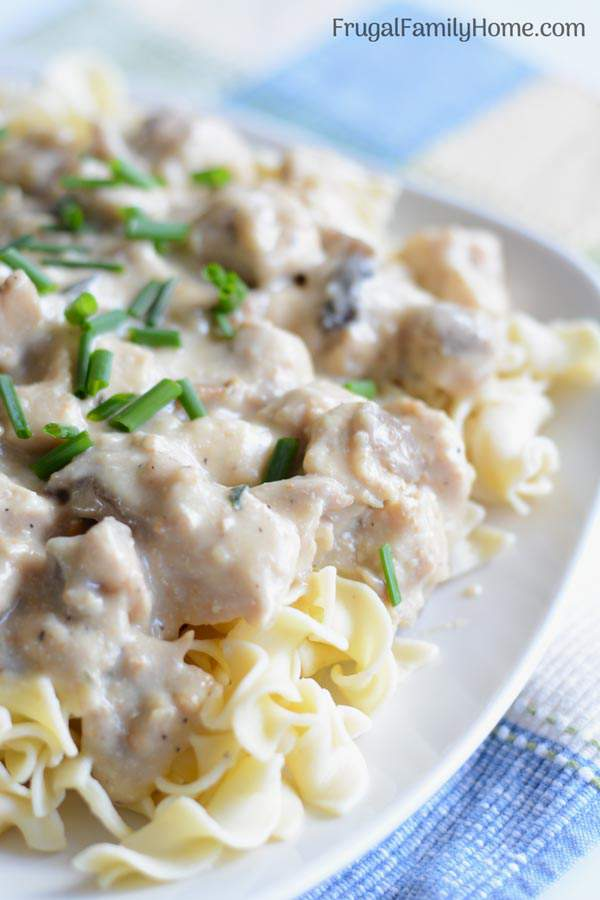 This is a simple and easy creamy chicken mushroom recipe. It's a one pot dish that is great for the summer because you cook it in the skillet. It's equally delicious served over pasta or rice and it can be made dairy free too.