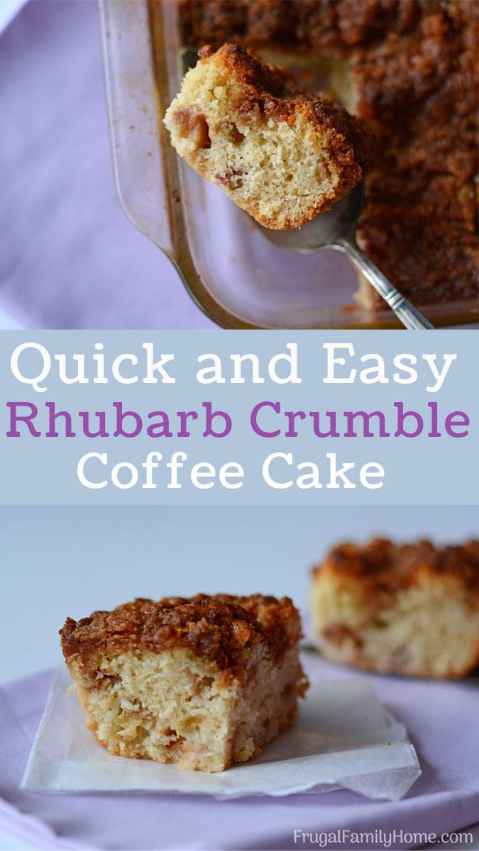 Skip muffins for breakfast and make this easy rhubarb crumble coffee cake recipe. It's a simple recipe that's quick to make. In a pinch you could quickly make this for dessert too.